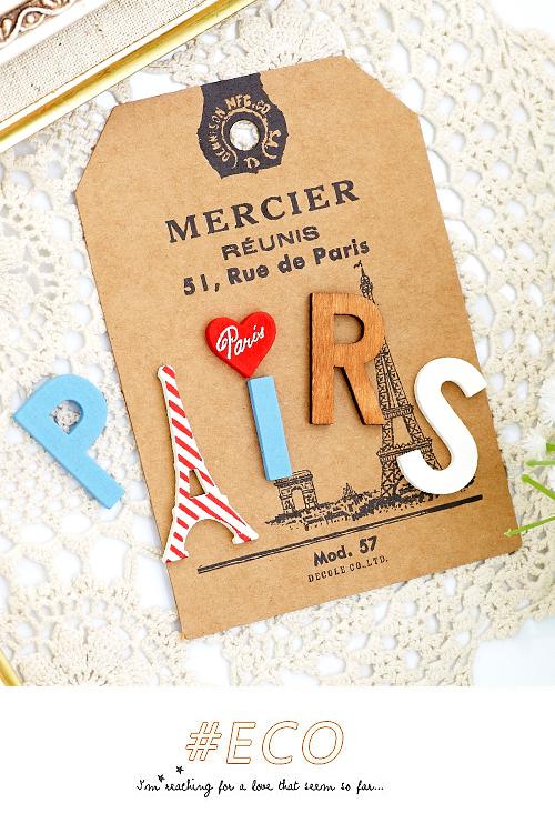 鄉村風,雜貨,巴黎,木質,鐵塔,磁鐵,memo