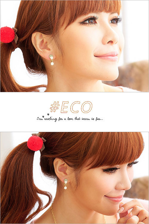 香菇耳環,蛋白石耳環,鑲鑽耳環,可愛設計,甜美款,夾式耳環,韓國飾品,耳環