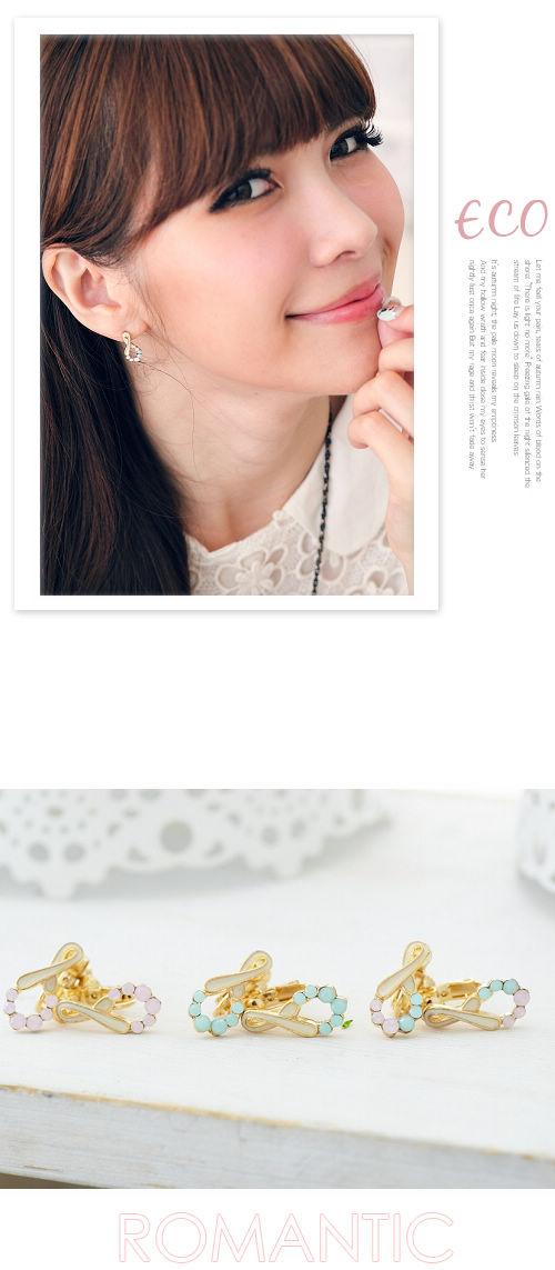 蛋白石耳環,蛋白石,無限,寶石耳環,韓國飾品,耳環,穿式耳環