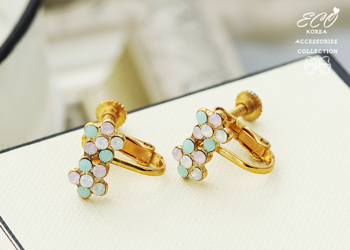 無耳洞耳環,夾式耳環,小花,蛋白石,韓製,韓國,耳環