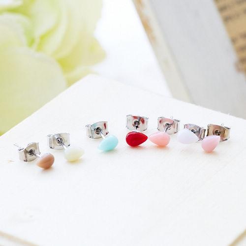 ●ECO安珂●【E2-1153】雨中散步 彩色水滴造型耳環(7件/組)