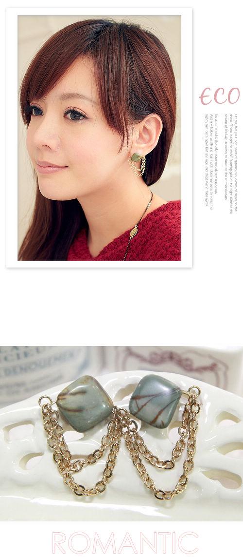 天然石頭,鎖鏈,造型耳環,韓國,韓製,耳環,垂式