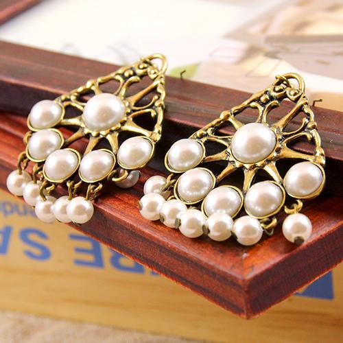 ECO安珂.復古水滴型框綴多珍珠與流蘇 耳環(2色)【E2-1224】
