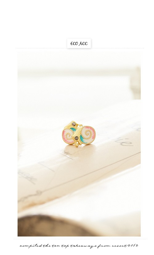 蝸牛,彩色,水鑽,韓製,韓國,韓貨,耳環