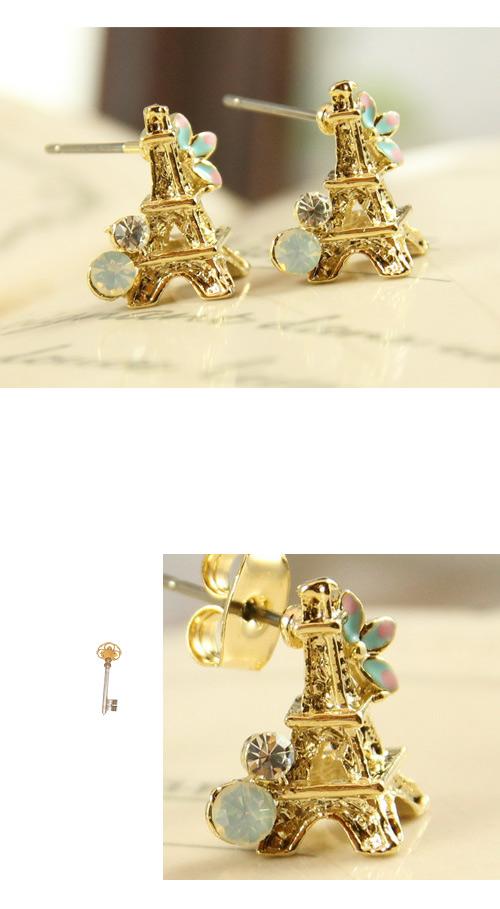 立體,鐵塔,蛋白石,韓製,韓國,水鑽,耳環