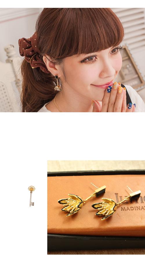 垂墜式,花,誇張,黑寶石,韓製,韓國,耳環