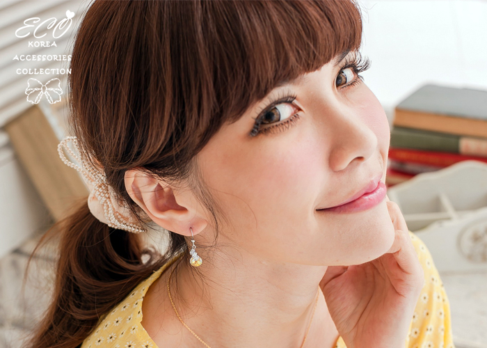 方鑽,夾式耳環,多切面,韓製,韓國,垂墜式,耳環