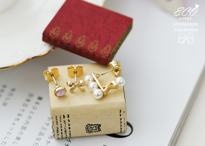 蛋白石,珍珠,蝴蝶結,韓製,韓國,耳環,純銀耳針