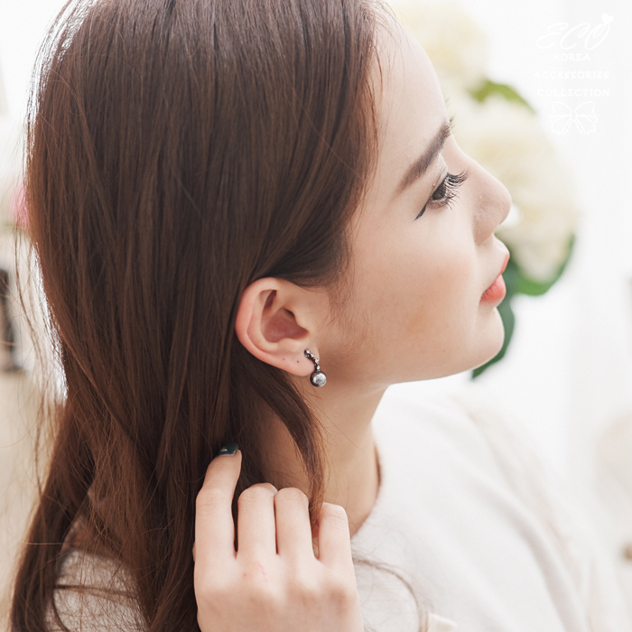 鑽,珍珠,灰真珠,無耳洞耳環,夾式耳環,韓製,韓國,耳環