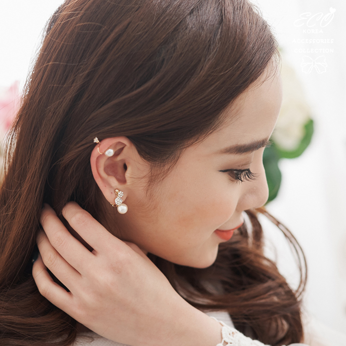 鑽,球球,珍珠,無耳洞耳環,夾式耳環,秀氣,韓製,韓國,耳環