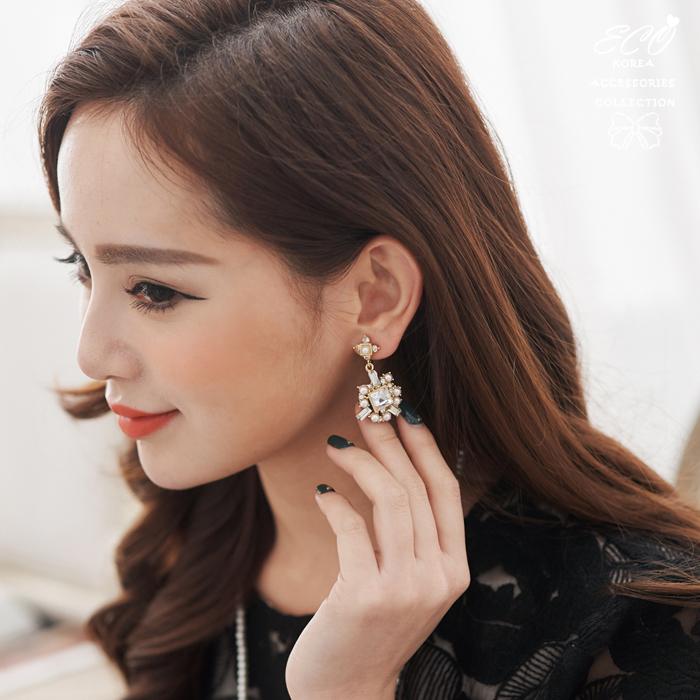 耳骨夾,夾式耳環,無耳洞耳環,華麗,珍珠,方鑽,韓製,韓國,耳環