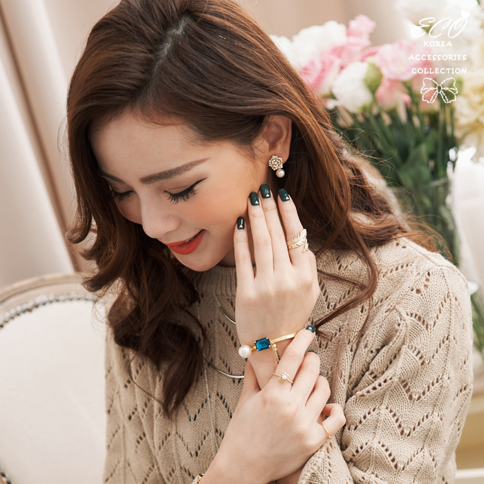 玫瑰,華麗,鑽,珍珠,無耳洞耳環,夾式耳環,韓製,韓國,耳環