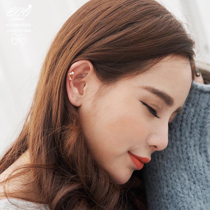 春天,粉嫩,珍珠,鑽,無耳洞耳環,夾式耳環,韓製,韓國,耳環