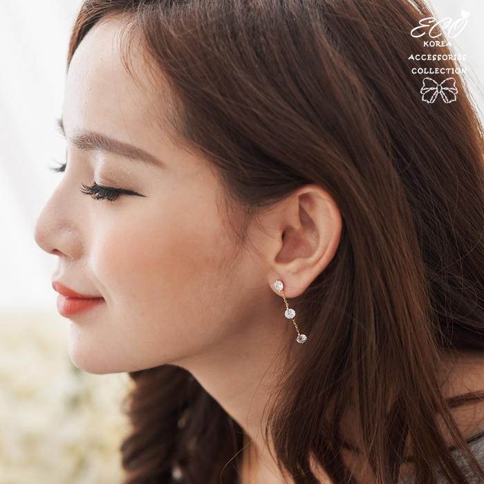 鑽,鋯石,三顆鑽,韓製,韓國,耳環