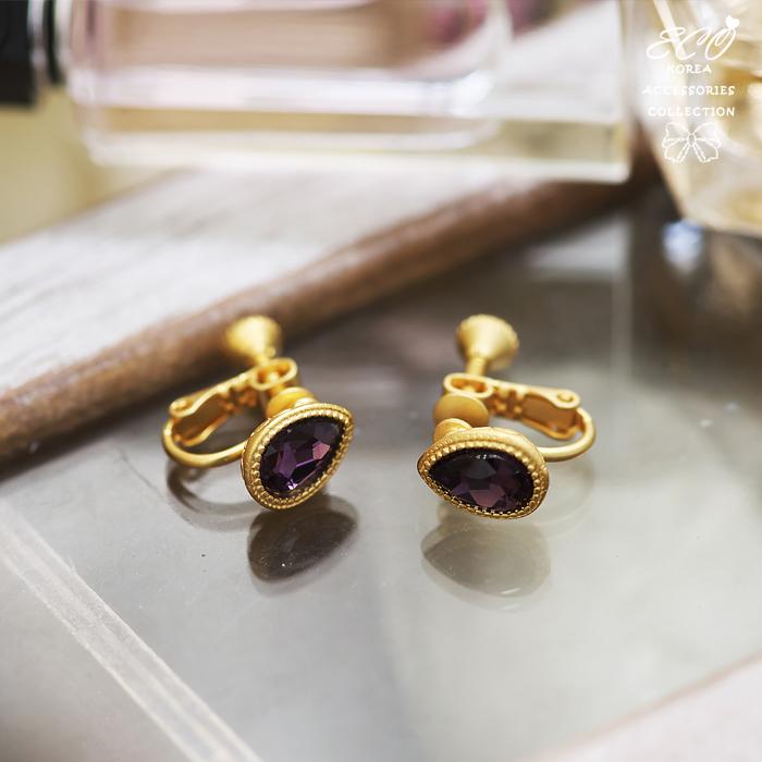 紫色寶石,水滴寶石,復古花紋,圖騰,無耳洞耳環,夾式耳環,韓製,韓國,耳環