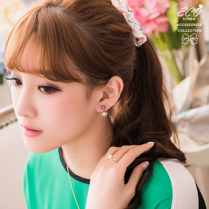 華麗,孔雀,綠鑽,黑鑽,蛋白鑽,韓製,韓國,耳環