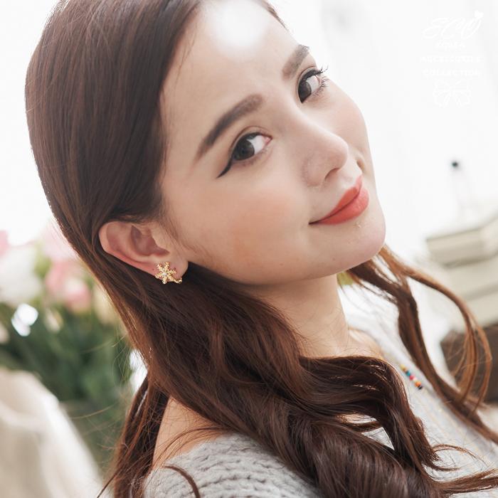雪花,珍珠,聖誕節,韓製,韓國,耳環,無耳洞耳環,夾式耳環