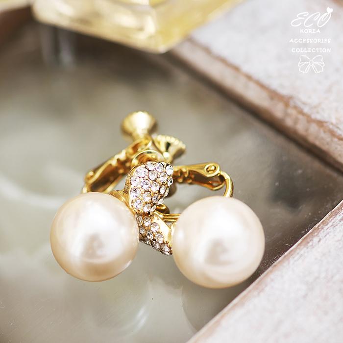 葉子,鑲鑽,大珍珠,無耳洞耳環,夾式耳環,韓製,韓國,耳環