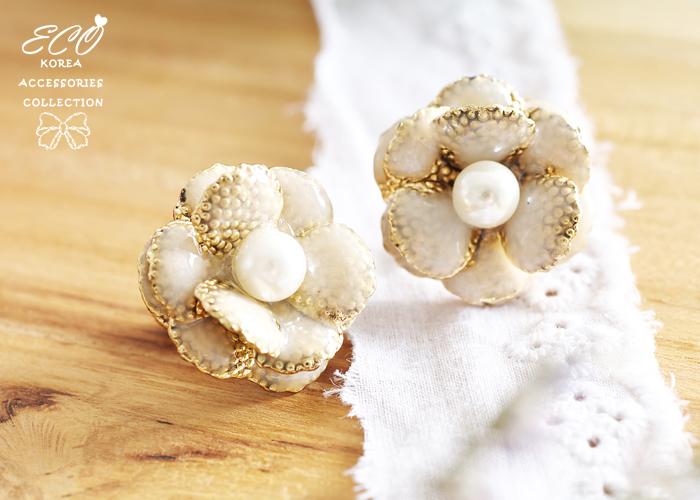 古典,釉彩,花型,無耳洞耳環,夾式耳環,氣質,韓製,韓國,耳環