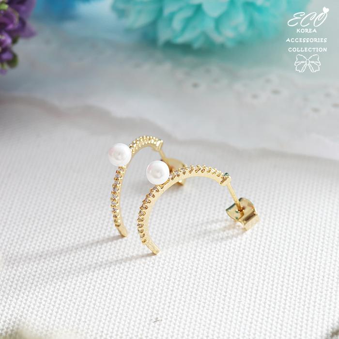 碎鑽,C圈,圓弧,珍珠,純銀耳針,氣質,針式耳環,韓製,韓國,耳環