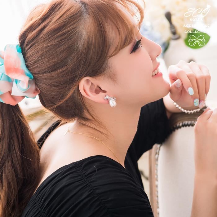 緞帶,珍珠,優雅,可愛,典雅,無耳洞耳環,夾式耳環,韓製,韓國,耳環