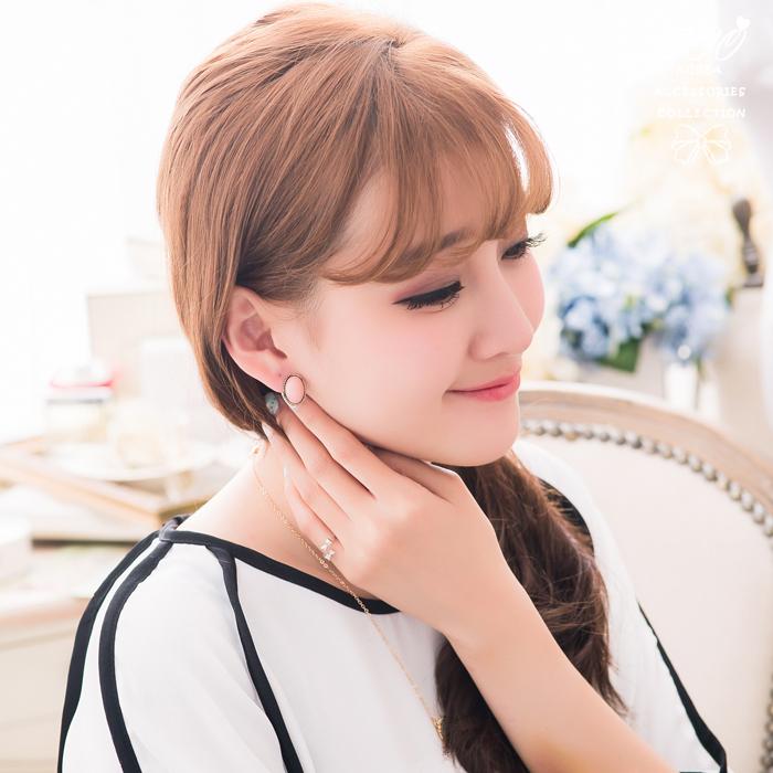 簡約,橢圓,金色小圓珠,復古,可愛,無耳洞耳環,夾式耳環,韓製,韓國,耳環