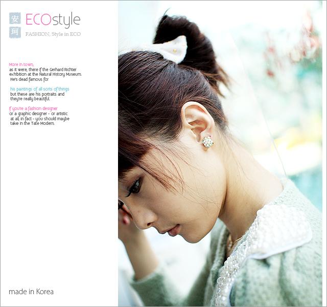 夾式,蛋白石,繡球花,韓國飾品,耳環