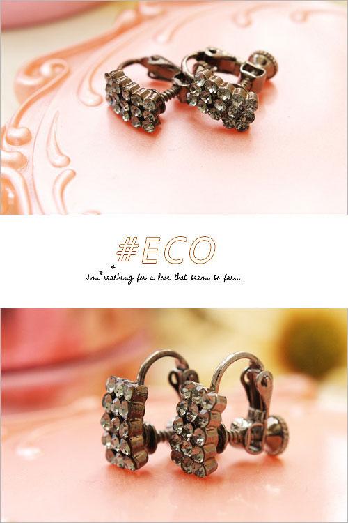 綴鑽耳環,鑲鑽耳環,抓鑽耳環,夾式耳環,韓國製耳環,韓國飾品,耳環