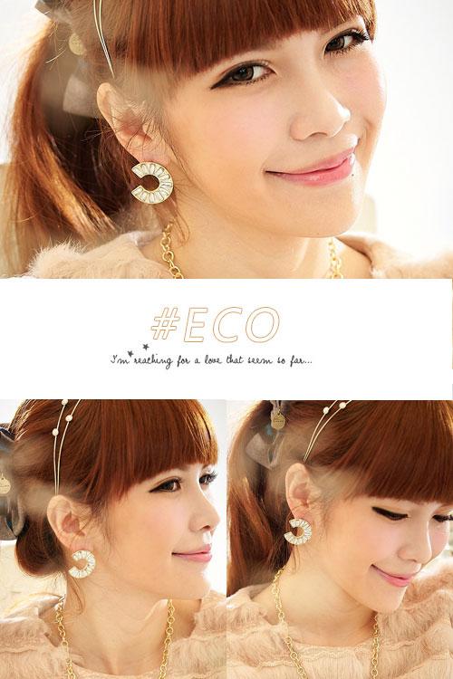 鑽石耳環,C型耳環,水鑽耳環,韓國飾品,耳環