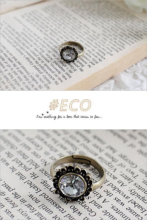 小花造型戒指,大鑽戒指,古銅色,寶石戒指,韓國製戒指,韓國飾品,戒指