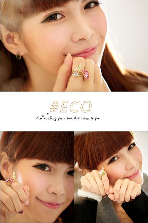 寶石戒指,兔子戒指,三件組,可調戒圍,韓國製戒指,韓國飾品,戒指