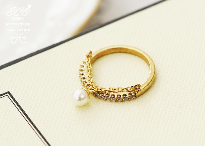 珍珠,鎖鏈,排鑽,韓製,韓國,韓貨,戒指