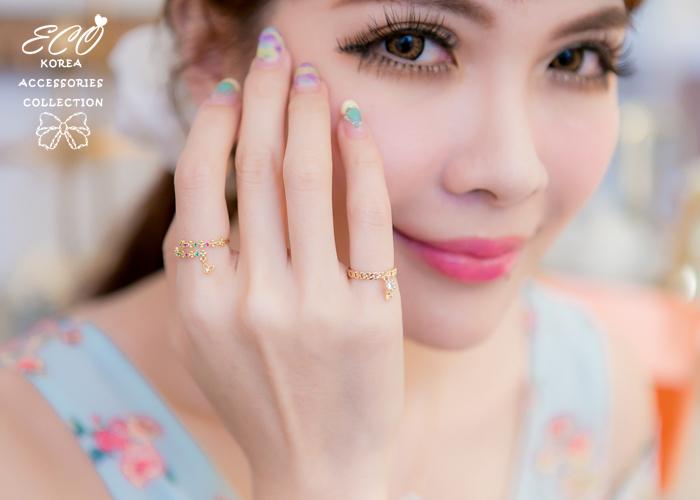 桃鑽,綠鑽,鑽,蝴蝶,春天,小花,排鑽,韓製,韓國,韓貨,戒指