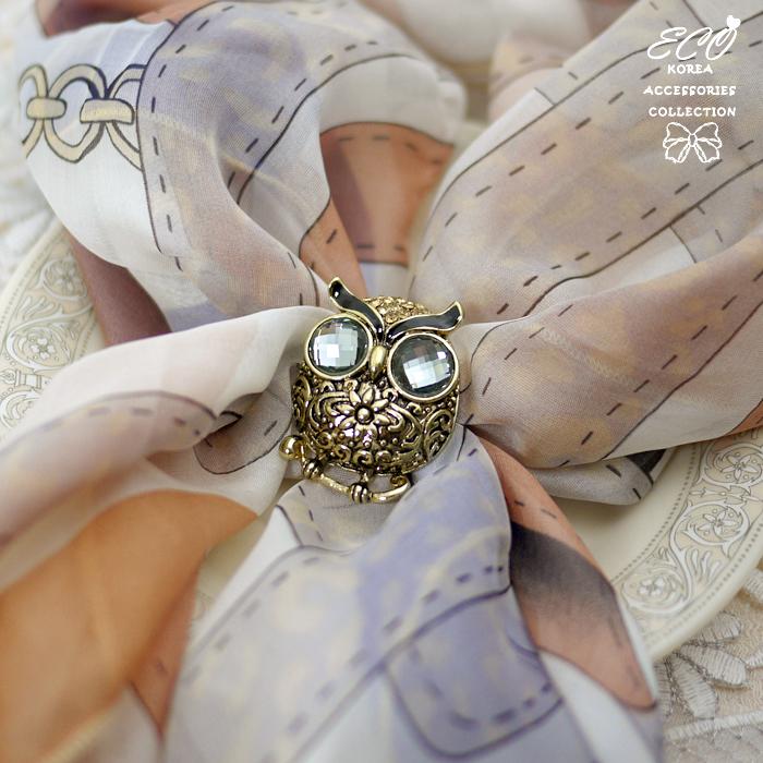 復古,絲巾釦,絲巾環,寶石,灰寶石,貓頭鷹,雕花,鑽,服飾配件