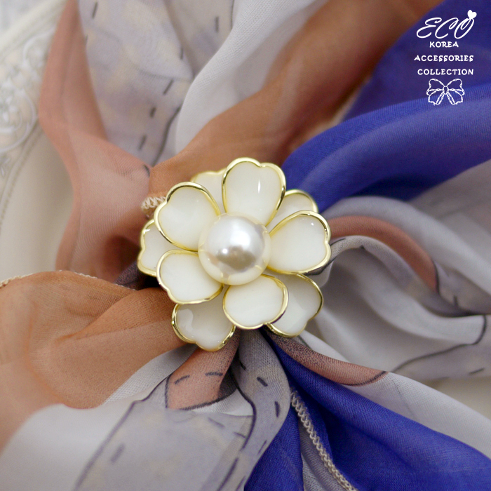 釉彩金邊花朵綴珍珠 三環絲巾釦/絲巾環/2色【5-236】