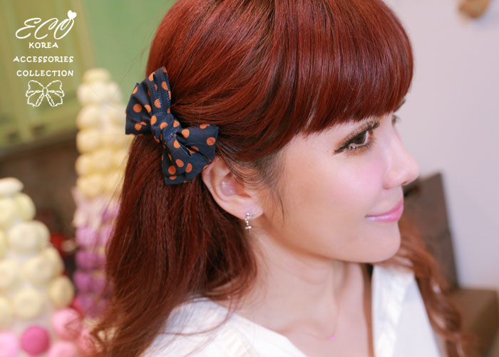 點點,蝴蝶結,水玉,彈簧夾,韓國髮飾,法國夾