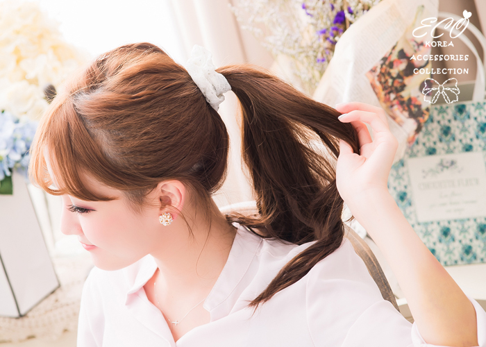 蝴蝶結,格子,圓邊,毛呢,髮束,韓國髮飾,韓國髮圈,韓國飾品,髮圈