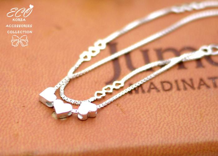 鏤空,厚實,愛心,雙鍊,925純銀,純銀手鍊,925純銀手鍊,純銀飾品,手鍊