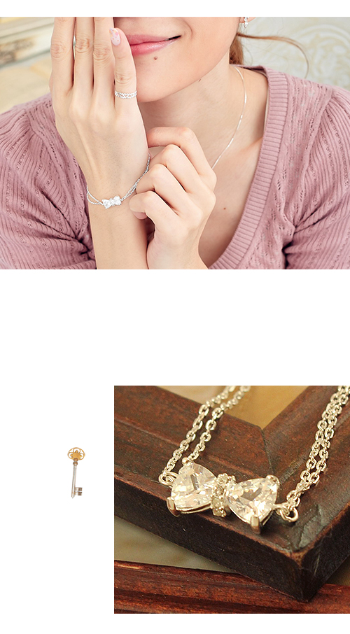 蝴蝶結,水鑽,純銀,雙鍊,925純銀,純銀飾品,銀飾