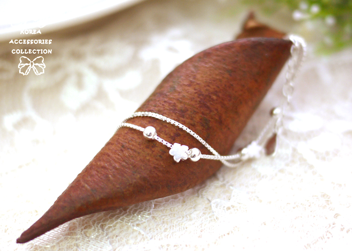 小花,雙鍊,小圓珠,925純銀,純銀手鍊,925純銀手鍊,純銀飾品,手鍊
