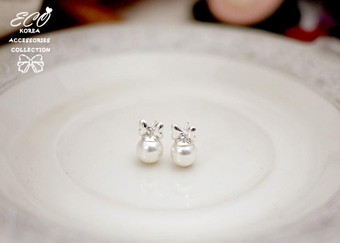 蝴蝶結,鑽,珍珠,純銀針耳環,925純銀耳環,抗過敏耳環