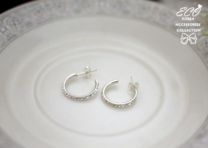 C圈,鑲鑽,純銀針耳環,925純銀耳環,抗過敏耳環