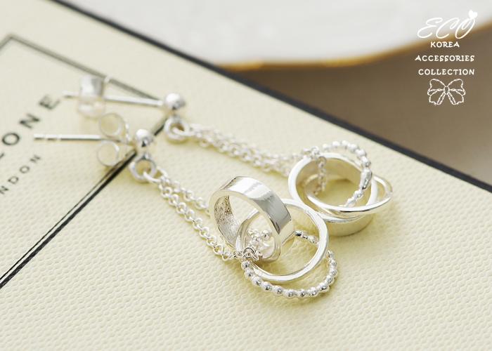 鎖鏈,三環,純銀針耳環,925純銀耳環,抗過敏耳環