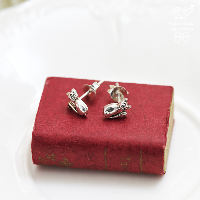 小貓,貓咪,純銀針耳環,925純銀耳環,抗過敏耳環
