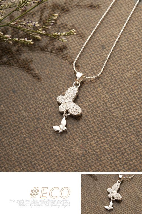蝴蝶銀墜,綴鑽銀墜,銀墜,925純銀,純銀項鍊,925純銀項鍊,純銀飾品,項鍊