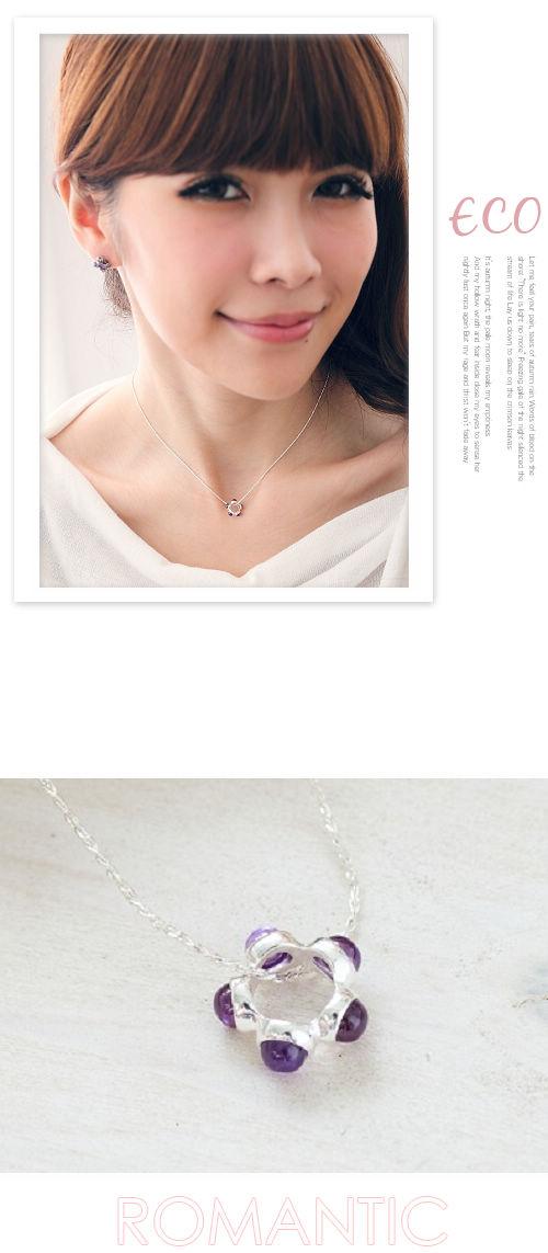 珠珠造形,圓形項鍊,紫寶石銀鍊,鎖骨項鍊,925純銀項鍊,純銀飾品