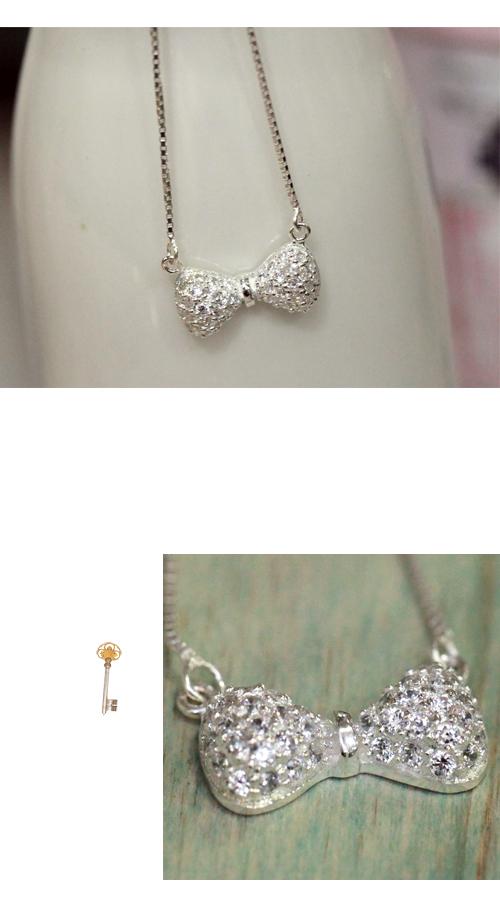 蝴蝶結項鍊,水鑽銀鍊,鎖骨項鍊,925純銀項鍊,純銀飾品