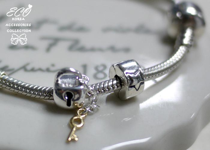 潘朵拉,豆豆,925純銀墜,鑰匙鎖,純銀飾品