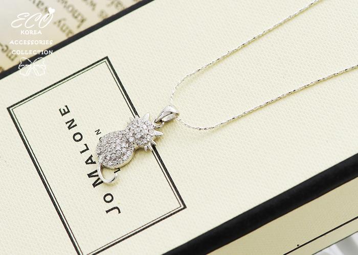 貓咪,滿鑽,水鑽銀鍊,鎖骨項鍊,925純銀項鍊,純銀飾品