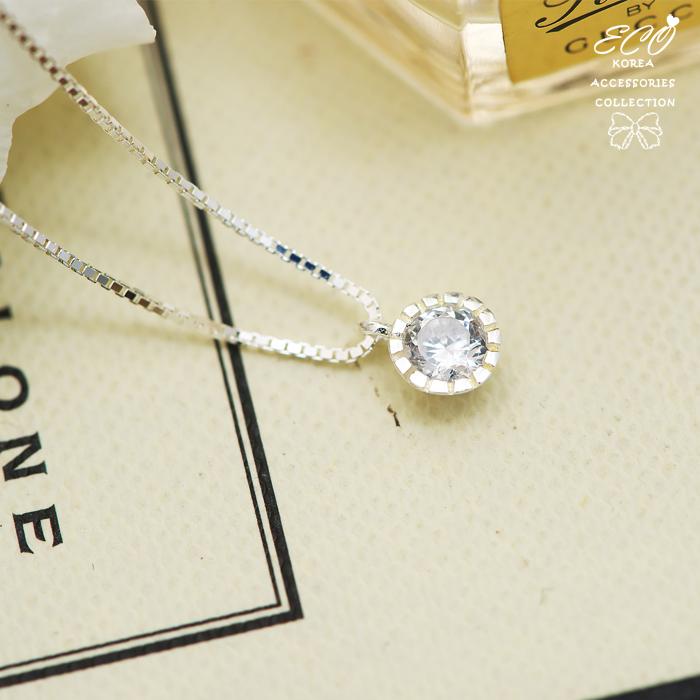 鋯石,盒子,水鑽銀鍊,鎖骨項鍊,925純銀項鍊,純銀飾品